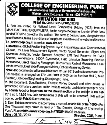 Supply of various types of Equipments (Government College of Engineering (COEP))