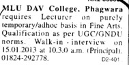 Lecturer on adhoc basis (Mohan Lal Uppal DAV College)