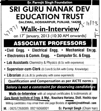 Associate Professor (Guru Nanak Institute of Engineering and Management Dalewal)