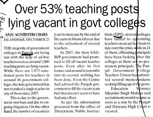 Over 53 percent teaching posts lying vacant in govt colleges (DPI Colleges Punjab)