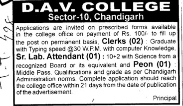 Sr Lab Attendent and Peon (DAV College Sector 10)