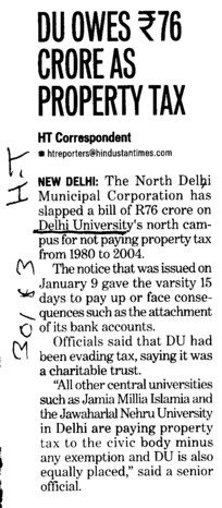 DU owes Rs 76 cr as property tax (Delhi University)