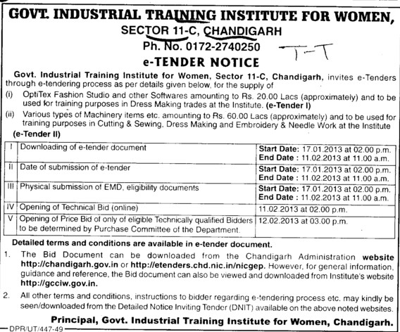 Supply of Fashion Studios etc (Industrial Training Institute (ITI Women))