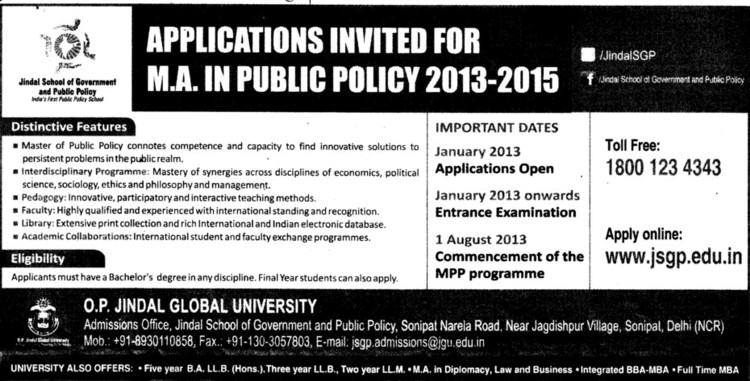 MA in Public Policy 2013 (OP Jindal Global University)
