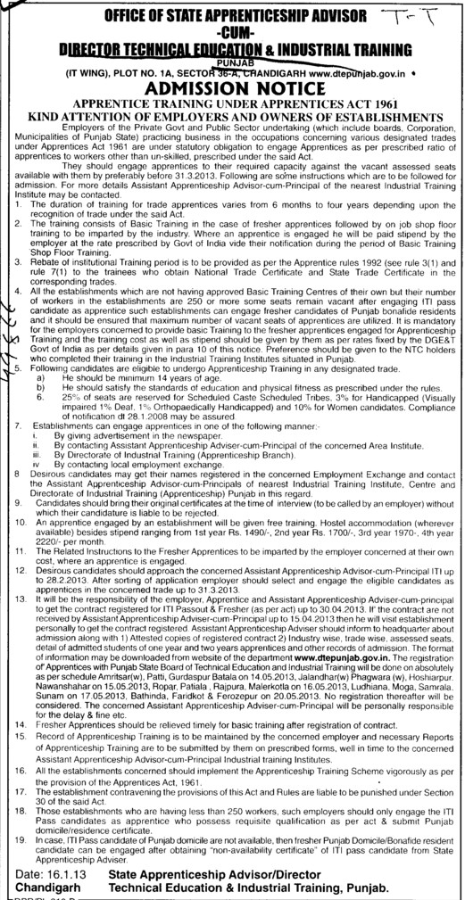 Apprentice training under apprentices act 1961 (Directorate of Technical Education and Industrial Training Punjab)