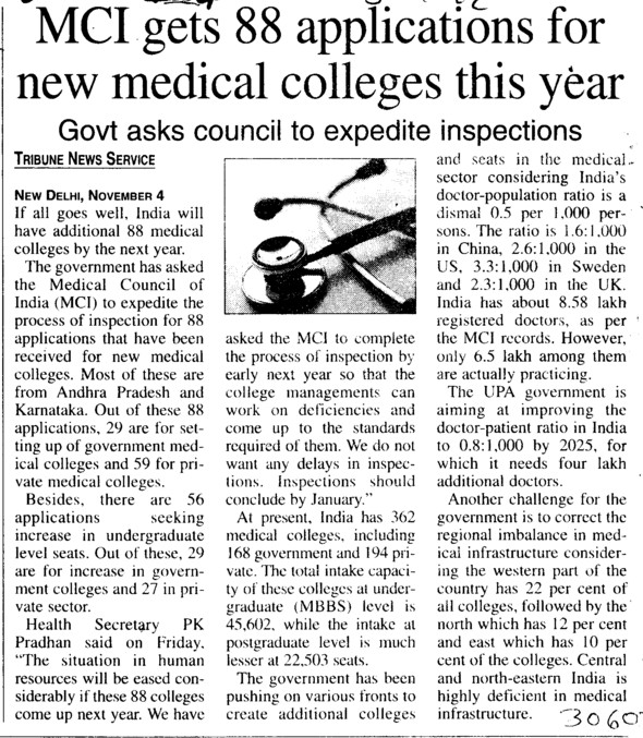 MCI gets 88 applications for new medical colleges this year (Medical Council of India (MCI))