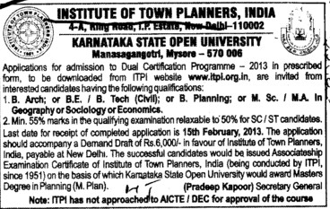 MSc in Geography and B Arch etc (Institute of Town Planners India (ITPI))