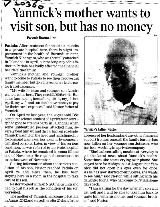Yannicks mother wants to visit son, but has no money (Lovely Professional University LPU)