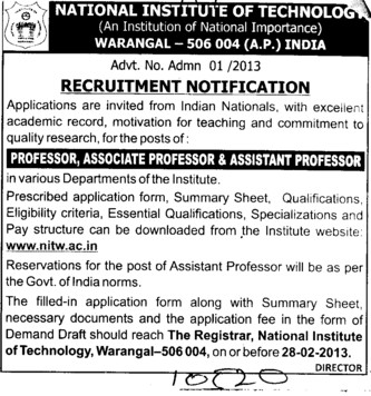 Professor, Asstt Professor and Associate Professor (National Institute of Technology NIT)