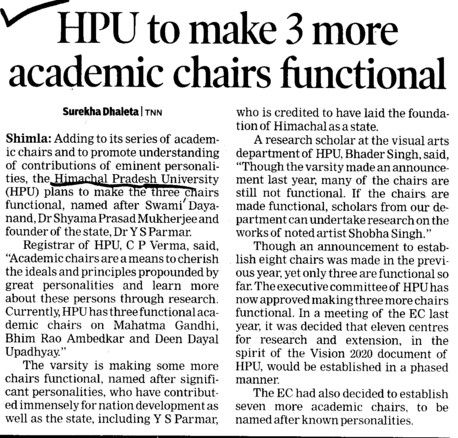 HPU to make 3 more academic chairs functional (Himachal Pradesh University)