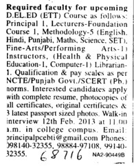 Principal and Lecturer (Dashmesh Girls College)