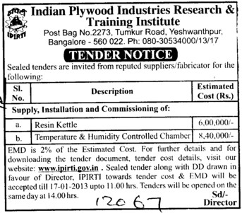 Resin Kettle and Humidity Controlled Chamber etc (Indian Plywood Industries Research and Training Institute (IPIRTI))