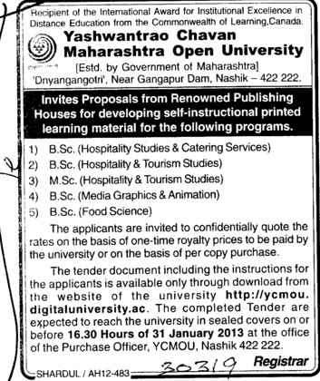 BSc in various subjects (Yashwantrao Chavan Maharashtra Open University (YCMOU))
