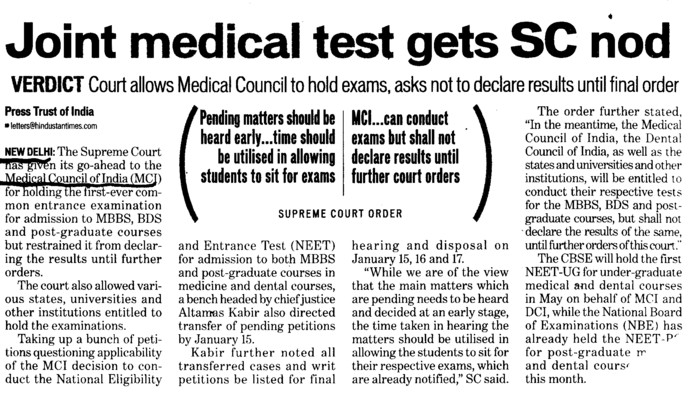 Joint Medical test gets SC nod (Medical Council of India (MCI))