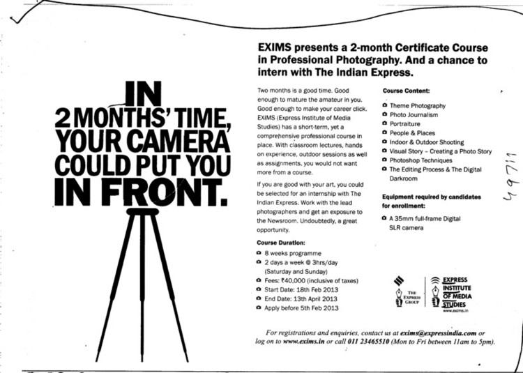 Certificate course in Professional Photography (Express Institute of Media Studies)