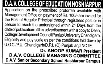 Principal on regular basis (DAV College of Education)