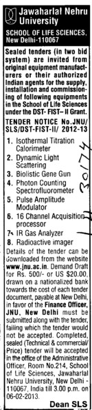 Biolistic gene gun and IR Gas Analyzer etc (Jawaharlal Nehru University)