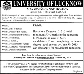 MBA Course (Lucknow University)