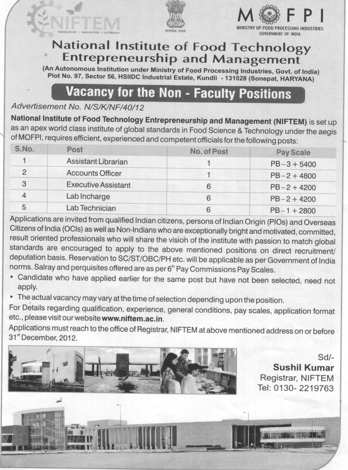 Asstt Librarian and Lab Incharge etc (National Institute of Food Technology Entrepreneurship and Management (NIFTEM))