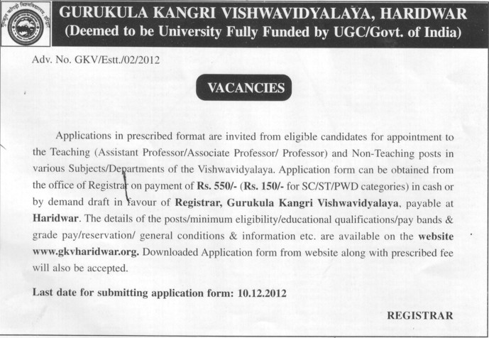Professor, Asstt Professor and Associate Professor (Gurukul Kangri Vishwavidyalaya)