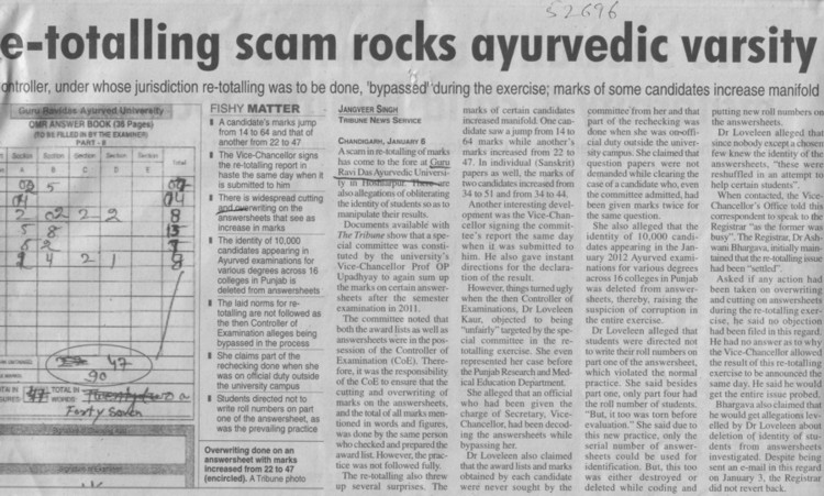 Re totalling scam rocks ayurvedic varsity (Guru Ravidass Ayurved University (GRAU))