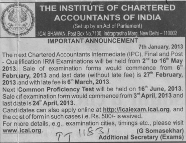 Common Proficiency Test 2013 (Institute of Chartered Accountants of India (ICAI))