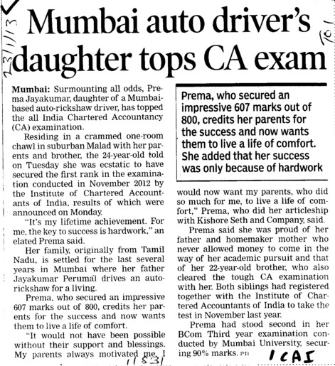 Mumbai upto drivers daughter tops CA exam (Institute of Chartered Accountants of India (ICAI))