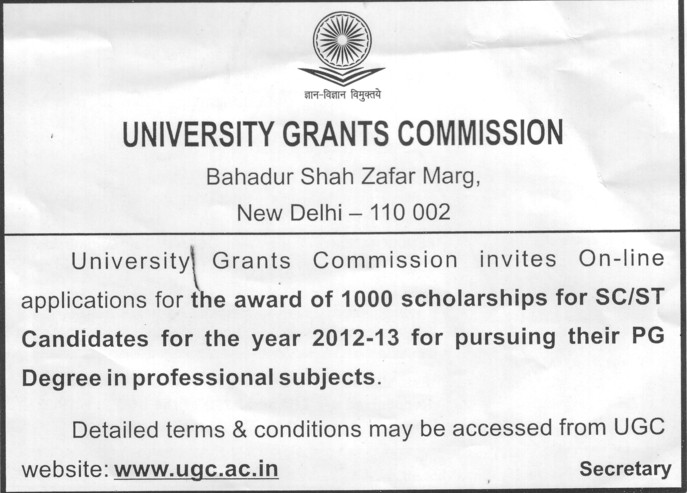 Scholarships award for SC and ST (University Grants Commission (UGC))
