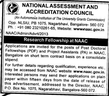 Post Doctoral Fellowship and Project Assistant (National Assessment and Accreditation Council (NAAC))