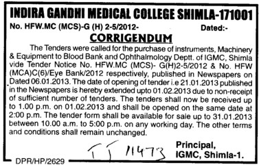 Regarding tender for various types of Equipments (Indira Gandhi Medical College (IGMC))