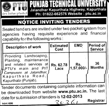 Landscaping, Planting and maintenance of Campus (Punjab Technical University PTU)