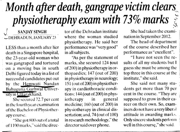 Gangrape victim clears physiotheraphy exam with 73 percent marks (Hemwati Nandan Bahuguna Garhwal University)