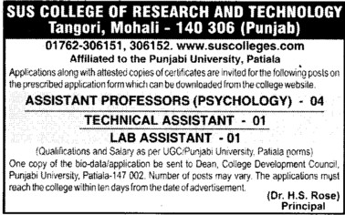 Asstt Professor, Technical Asstt and Lab Asstt (Shaheed Udham Singh College of Research and Technology)