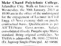 Lecturer in Civil Engg (Mehr Chand Polytechnic College)