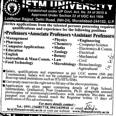 Professor, Asstt Professor and Associate Professor (IFTM University)