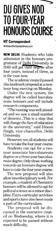 DU gives NOD to four year honours course (Delhi University)