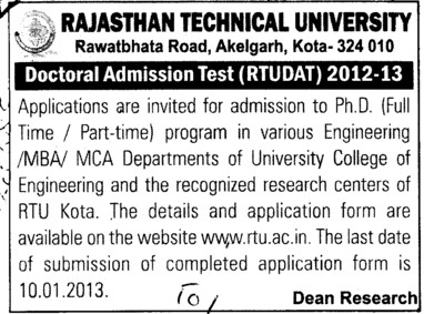 Doctoral Admission Test (Rajasthan Technical University (RTU))