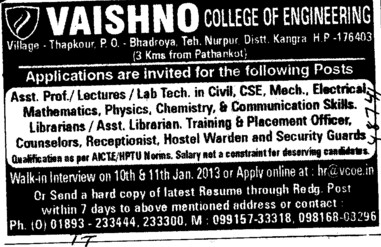 Asstt Professor, Lecturer and Lab Tech etc (Vaishno College of Engineering)