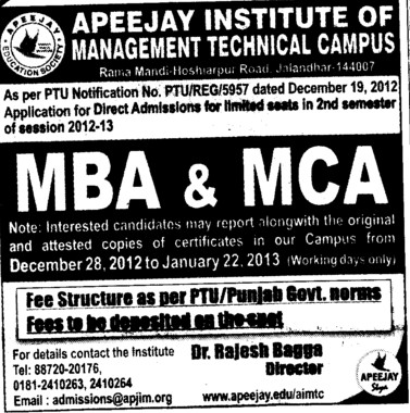MBA and MCA Course (Apeejay Institute of Management)