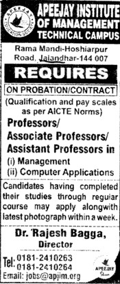 Professor, Asstt Professor and Associate Professor (Apeejay Institute of Management)