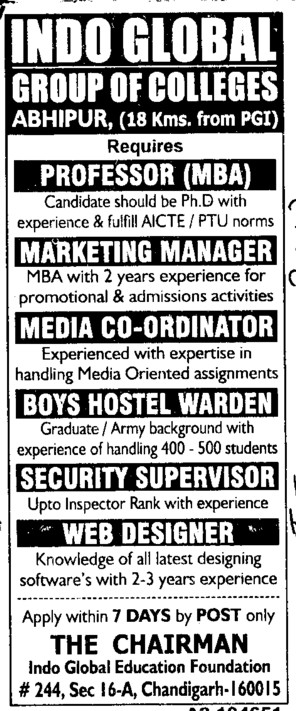 Professor, Marketing Manager and Boys Hostel warden etc (Indo Global Group of Colleges)