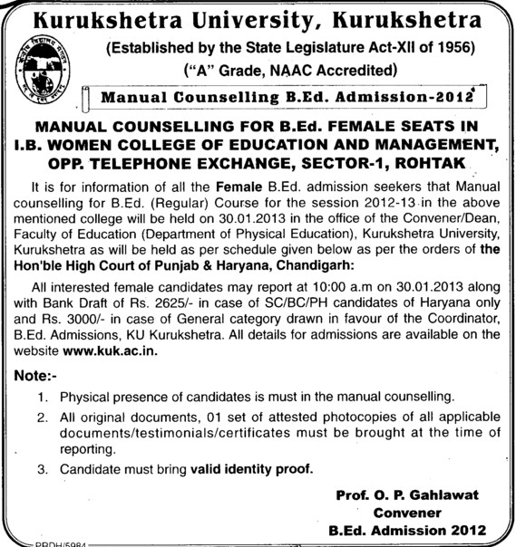 Manual Counselling B Ed Admission 2012 (Kurukshetra University)