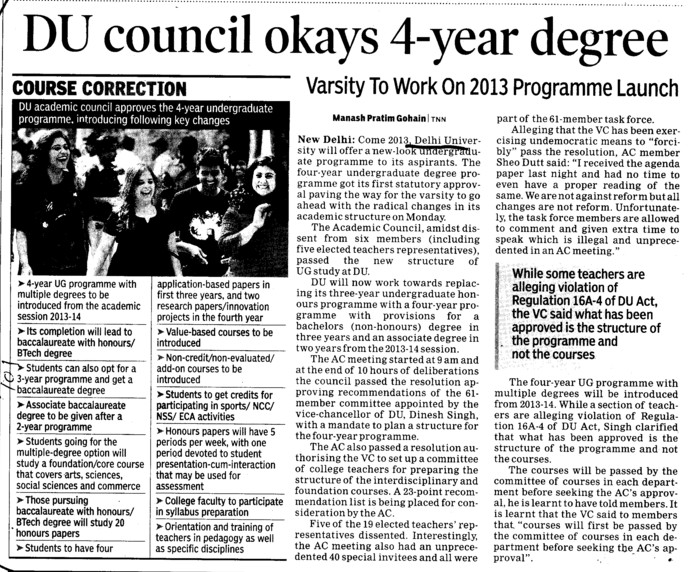 DU Council okays 4 years degree (Delhi University)