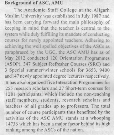 Background of ASC, AMU (Aligarh Muslim University (AMU))