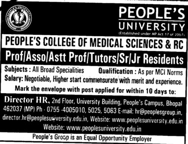 Professor, Asstt Professor, Associate Professor and Jr Residents etc (Peoples University)