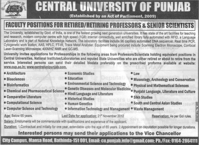 Retiring Professo and Senior Scientists (Central University of Punjab)