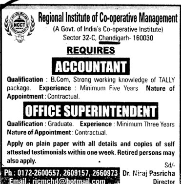 Accountant and Office Superintendent (Regional Institute of Cooperative Management)