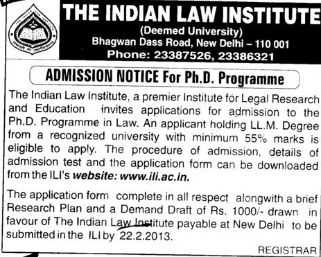 PhD Programme (Indian Law Institute)