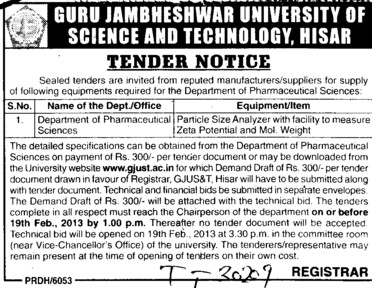 Particle size analyzer (Guru Jambheshwar University of Science and Technology (GJUST))