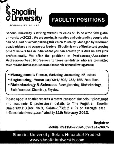 Finance, Marketing Accounting etc (Shoolini University)